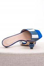Gestreifte Pantolette POGGIO in Blau/Weiß