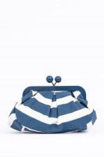 Mini-Puff-Tasche in Weiß/Blau