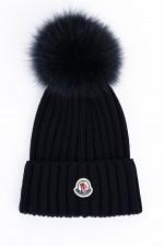 Mütze BERRETTO mit Fell-Pompon in Navy