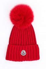 Mütze BERRETTO mit Fell-Pompon in Rot