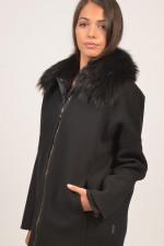 Wollmantel mit Daunengilet Buxus in Schwarz