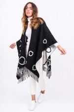 Poncho aus Schurwolle in Schwarz/Weiß