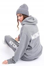 Hoodie mit Label-Schriftzug in Grau