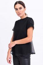 Shirt aus groben Mesh in Schwarz