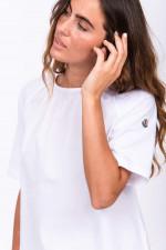 T-Shirt mit Popelin-Einsatz in Weiß