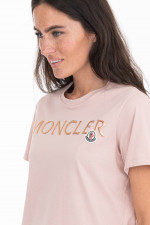 T-Shirt mit Metallic-Schriftzug in Rosa