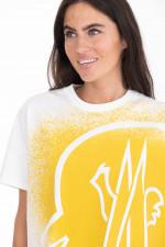 T-Shirt mit Colour-Splash-Print in Weiß/Gelb