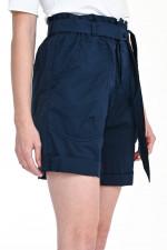Shorts mit Paperbag-Design in Navy