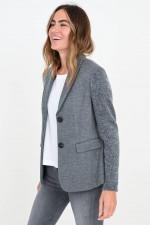 Jersey-Blazer mit Strickarm in Grau