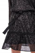Kleid mit Pailletten-Besatz in Schwarz
