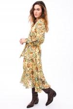 Kleid im Jungle-Print in Gelb