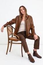 Hemdjacke aus Leder in Cognac