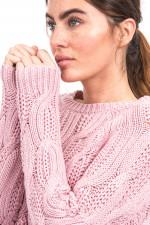 Zopfstrick Pullover in Rosé
