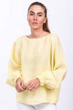 Gestreifte Leinenbluse BONNIE in Gelb/Weiß