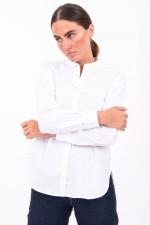 Baumwoll-Bluse mit Stehkragen in Weiß