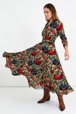 Midi-Kleid ASTER mit Blumen in Sand/Multicolor