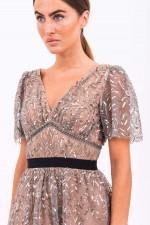 Midi-Kleid mit Pailletten-Besatz in Graphit