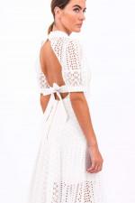 Midi-Kleid mit Lochstickerei in Weiß