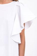 Blusenshirt mit Rüschenärmel in Weiß