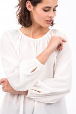 Bluse aus reiner Seide mit Rundhals in Weiß