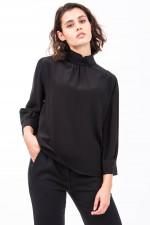 Bluse aus reiner Seide mit Stehkragen in Schwarz