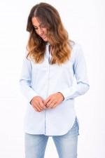 Bluse mit schmalen Stehkragen in Hellblau