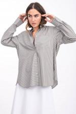 Gestreifte Bluse in Khaki/Weiß