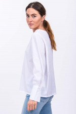 Langarm-Blusenshirt in Weiß