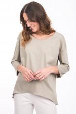 Shirt mit verlängertem Rücken in Khaki