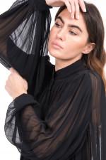 Bluse mit Plissee-Falten in Schwarz