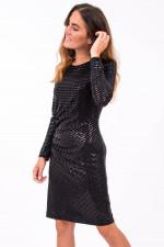 Paillettenkleid mit Raffung in Schwarz