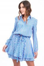 Seidenkleid im Streifen-Design in Blau/Rosa