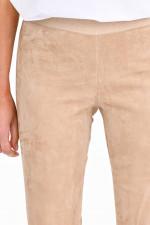 Velourslederhose mit elastischem Bund in Caramel