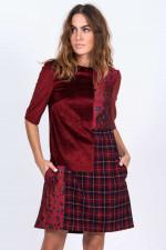 Kleid in Patchwork-Design in Rot