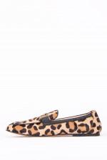 Loafer im Leo-Design in Beige/Schwarz