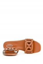 Sandale in Flechtoptik in Camel