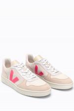 Veloursleder-Sneaker V-10 in Beige/Rosa/Pink