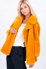 Fake-Fur Kurzmantel in Gelb