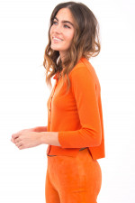 Strickjacke aus Merino-Wolle in Orange