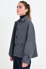 Woll-Mix Jacke mit Hahnentritt in Blau/Beige