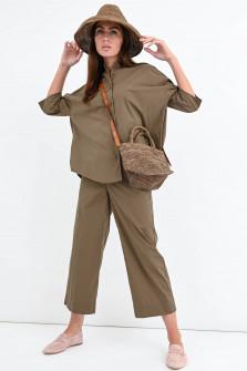 Culotte mit elastischem Bund in Khaki