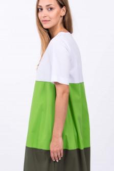 Kleid im Colorblock-Design in Weiß/Grün/Oliv
