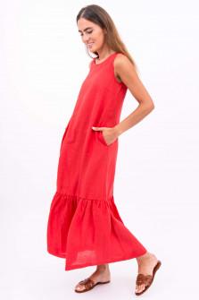 Maxi Leinenkleid in Rot