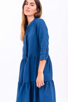Volantkleid aus Leinen in Mittelblau