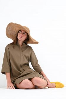 Midi-Blusenkleid mit Stehkragen in Khaki