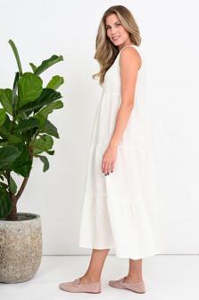 Maxi-Volantkleid aus Leinen in Weiß