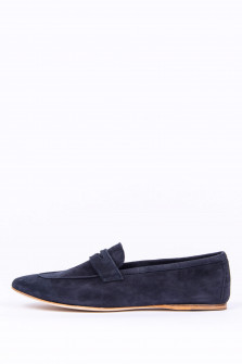 Loafer aus Veloursleder in Navy