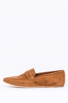 Loafer aus Veloursleder in Cognac