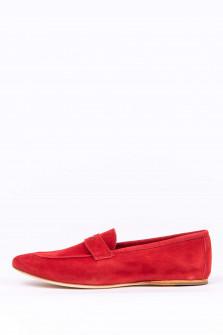 Loafer aus Veloursleder in Rot