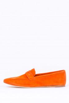 Loafer aus Veloursleder in Orange